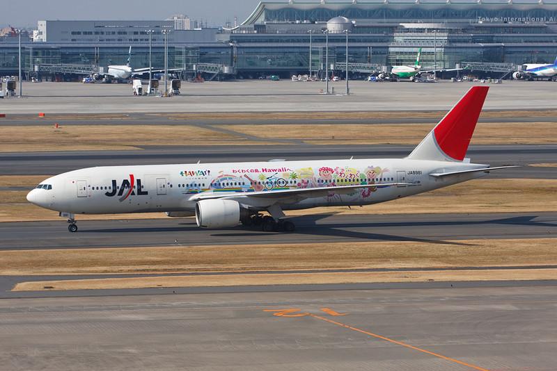 "JA8981 Boeing 777-246 c/n 27364 Tokyo-Haneda/HND 26-02-11 ""Wakuwaku Aloha Jet"""