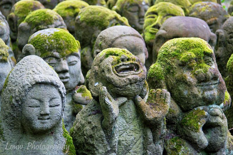 "Stone statues at <a target=""NEWWIN"" href=""http://en.wikipedia.org/wiki/Otagi_Nenbutsu-ji"">Otagi Nenbutsu-ji</a> temple, Kyoto, Japan"