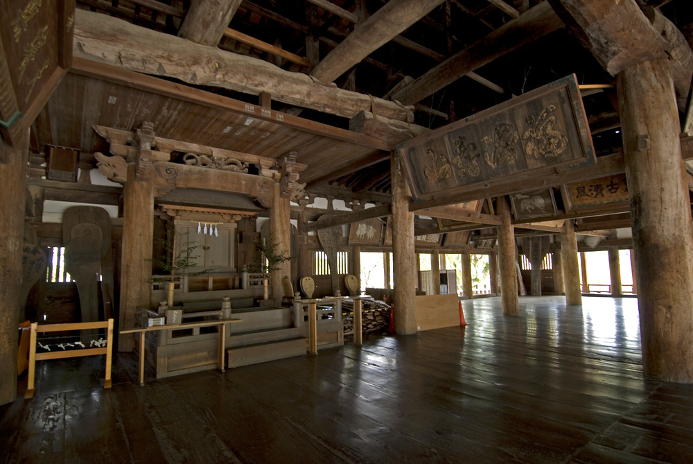 Inside the Toyokuni Shrine, Miyajima, Japan