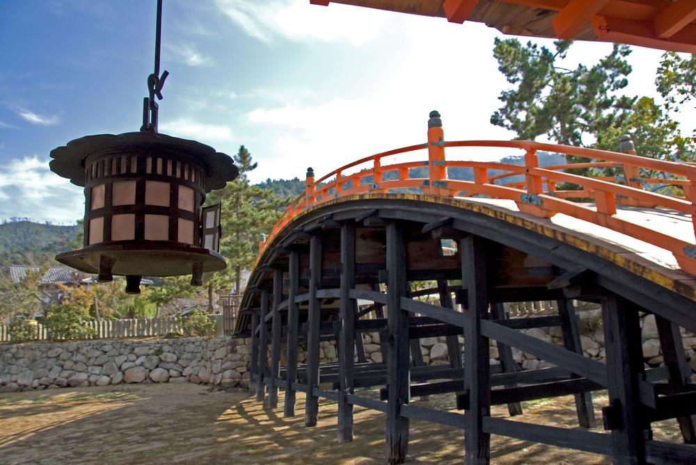 A bridge at low tide at the Itsukushima Shrine, Miyajima, Japan