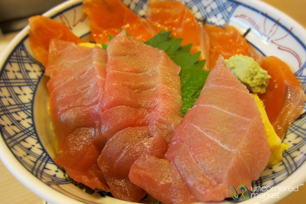 Tuna and Salmon Sashimi Breakfast - Tsukiji Fish Market, Tokyo