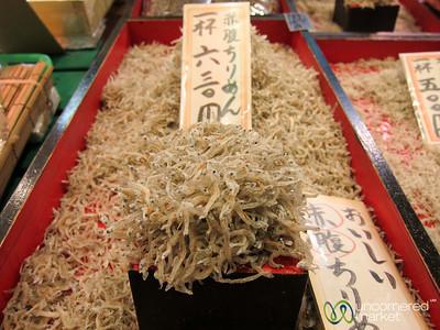 Tiny dried fish at Nishiki Market - Kyoto, Japan