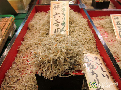 Tiny dried fish at Nishiki Market - Kyoto, Japan