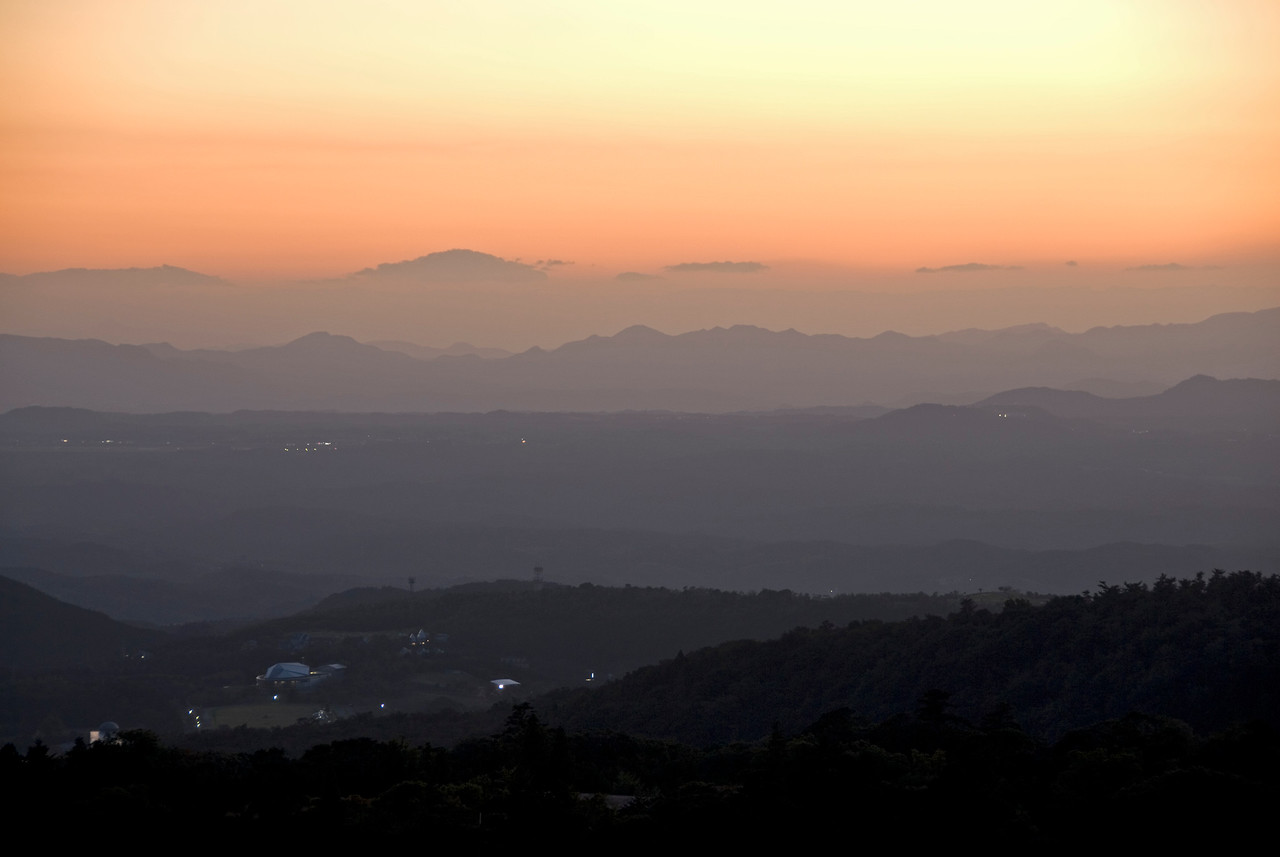 Beautiful sunset over Kirishima Mountains in Kagoshima, Japan