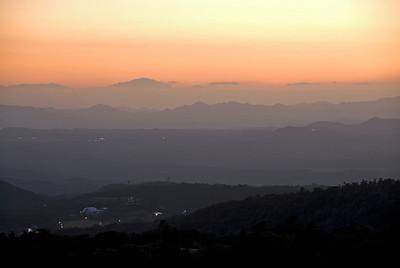 Beautiful sunset over Kirishima Mountains in Kagoshima, Japan