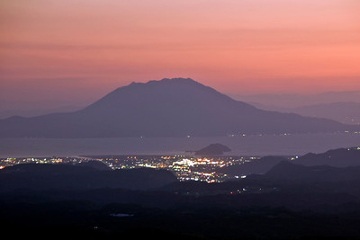 Beautiful sunset and city light in Kagoshima, Japan