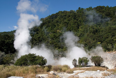 Steam clouds forming in Kirishima Mountains in Japan