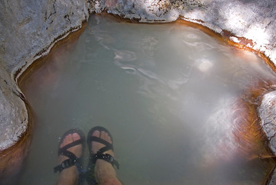 Dipping feet in hot spring in Kirishima, Japan