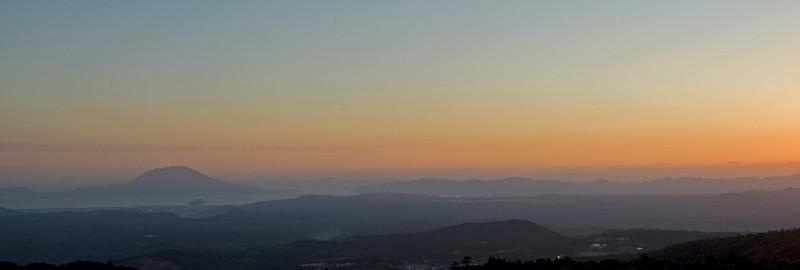Panoramic view of the Kagoshima Harbor at Sunset