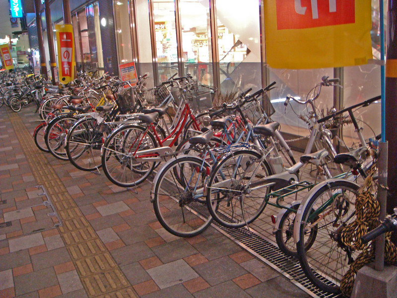 Bikes parked on the side road at Kagoshima, Japan