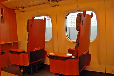 Closer look at the seats inside the bullet train in Japan