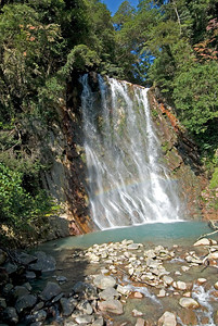 A profile of the Maruo Falls in Kagoshima, Japan