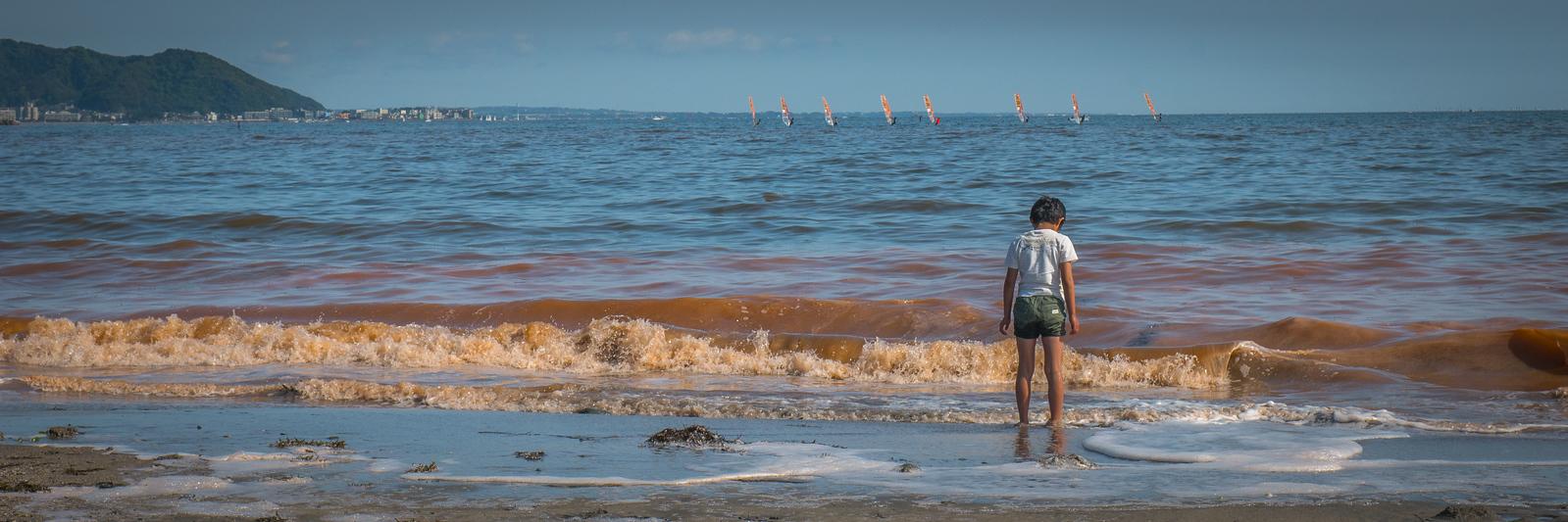 kamakura beach with red tide algae