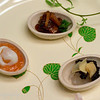 Clam with fruit sauce; Chips with caviar and shrimp; Quail egg with sea cucumber.  Kichisen, Kyoto, Japan