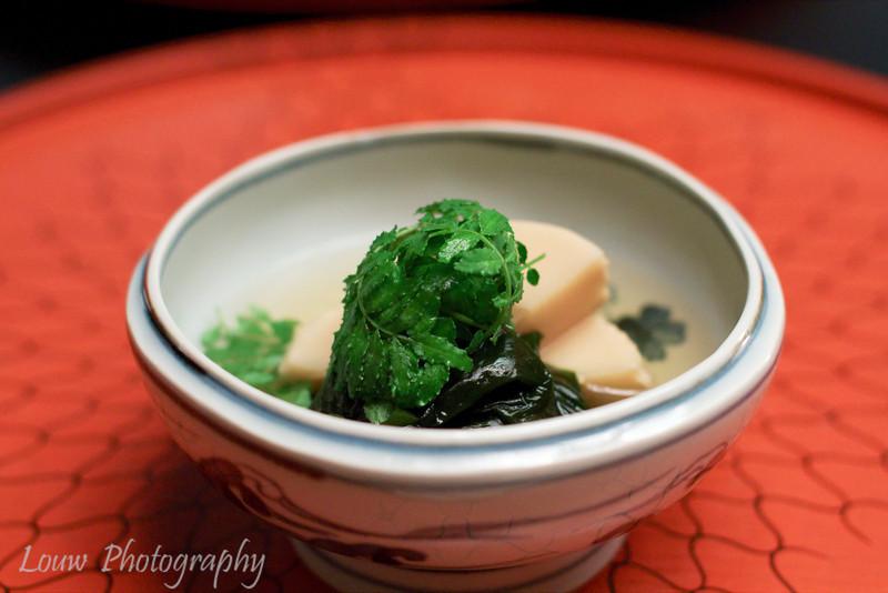 Baby bamboo with green vegetables and seaweed at Kichisen, Kyoto, Japan