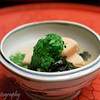 Baby bamboo with green vegetables and seaweed at Kichisen, Kyoto, Japan