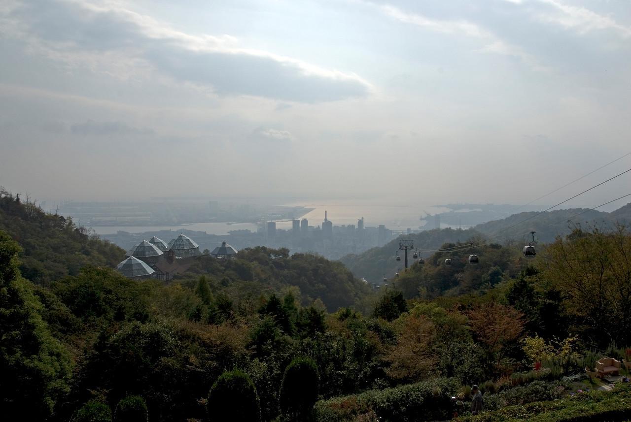 Overlooking shot of the Kobe skyline in Kobe, Japan
