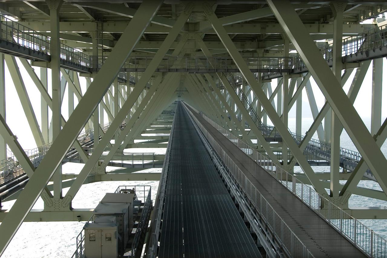 Beams and posts under the Akashi-Kaiky Bridge in Kobe, Japan