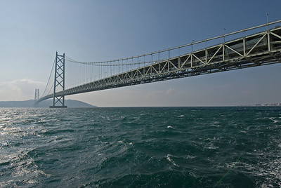 View of the Akashi-Kaikyo Bridge  from the side in Kobe, Japan