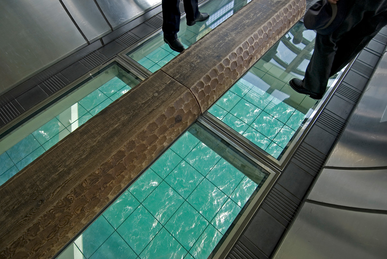 Floor Windows peeking into the sea at Akashi-Kaikyo Bridge in Kobe, Japan