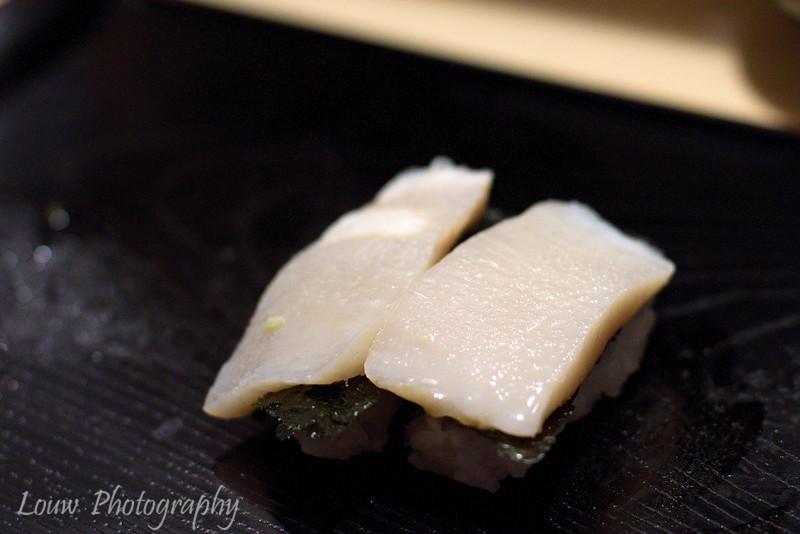White fish sushi with yuzu and nori, Koyoshi Sushi, Osaka, Japan