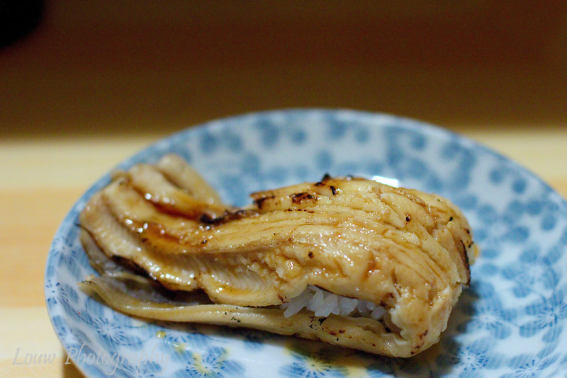 Anago sushi at Koyoshi Sushi, Osaka, Japan