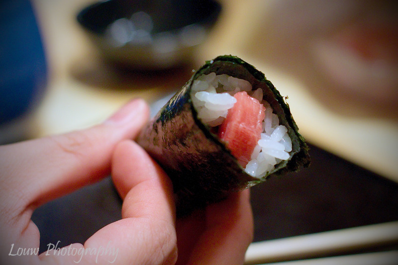 Toro handroll at Koyoshi Sushi, Osaka, Japan