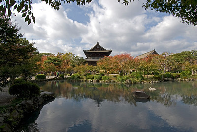 A shot of the Toji Temple and nearby pond in Kyoto, Japan
