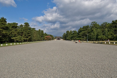 The long and wide road leading to Imperial Palace in Kyoto, Japan