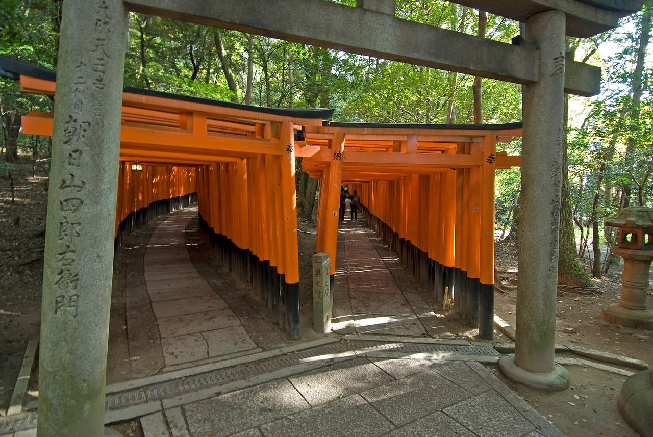 Two separate covered paths inside the Fushimi Inari-taisha shrine in Kyoto, Japan
