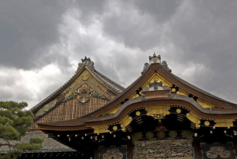 Dark clouds above the Nijo-jo Castle Rooftop in Kyoto, Japan