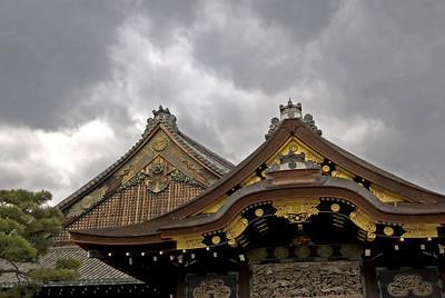 Dark clouds above the Nijo-jo Castle Rooftop in Kyoto, Japan
