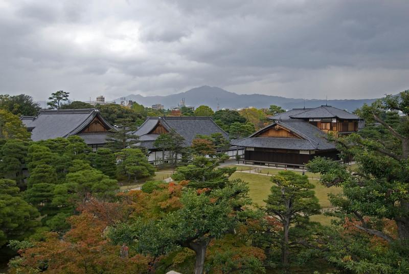 Overhead view of Nijo-jo Castle Grounds in Kyoto, Japan