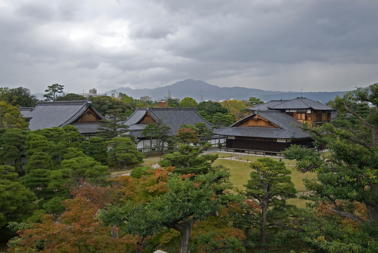 Overhead view of Nijo-jo Castle Grounds in Kyoto, Japan