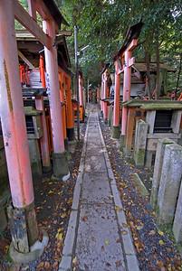 Long and narrow path in Fushimi-inari Shrine in Kyoto, Japan