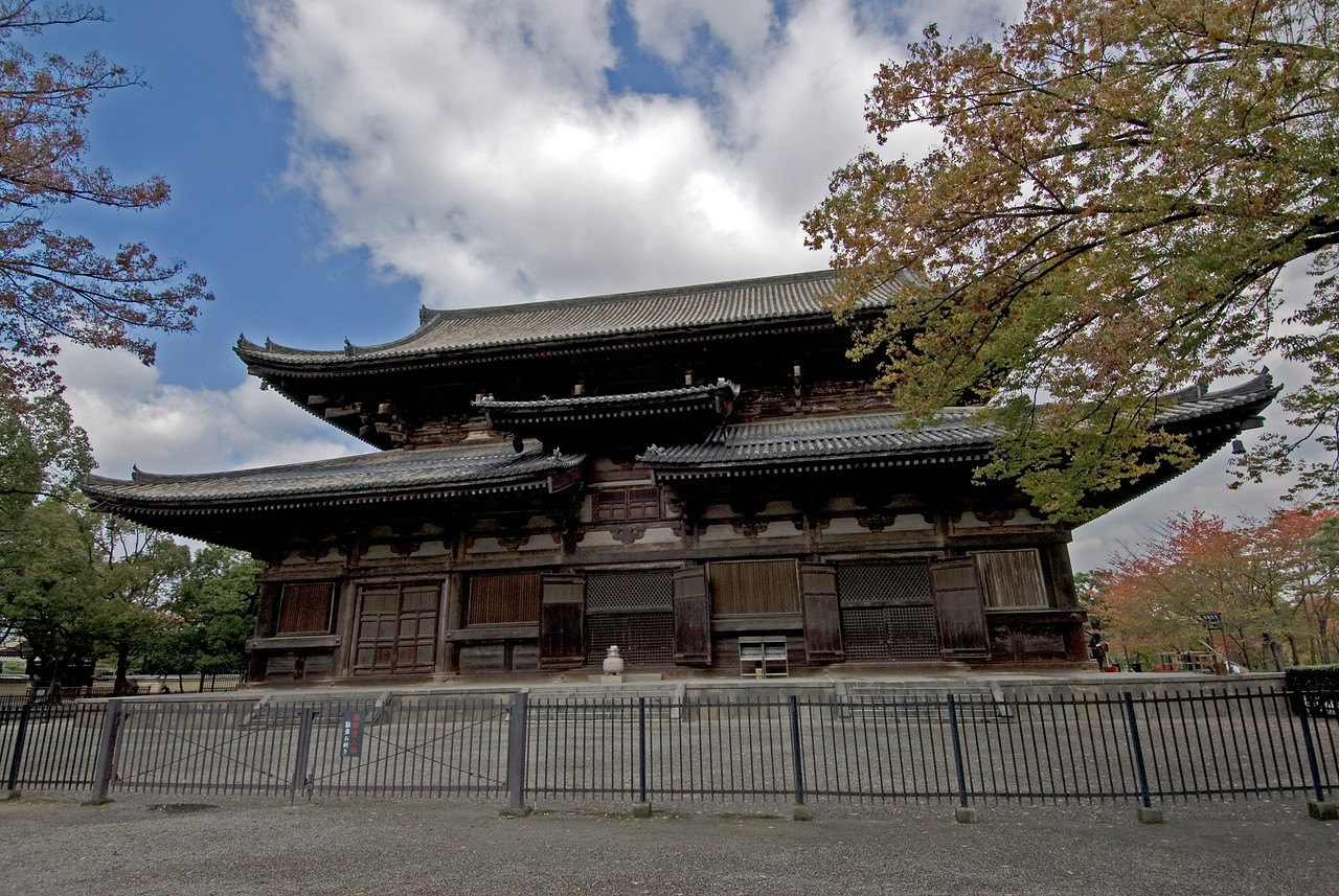 Front view of the Toji Temple in Kyoto, Japan