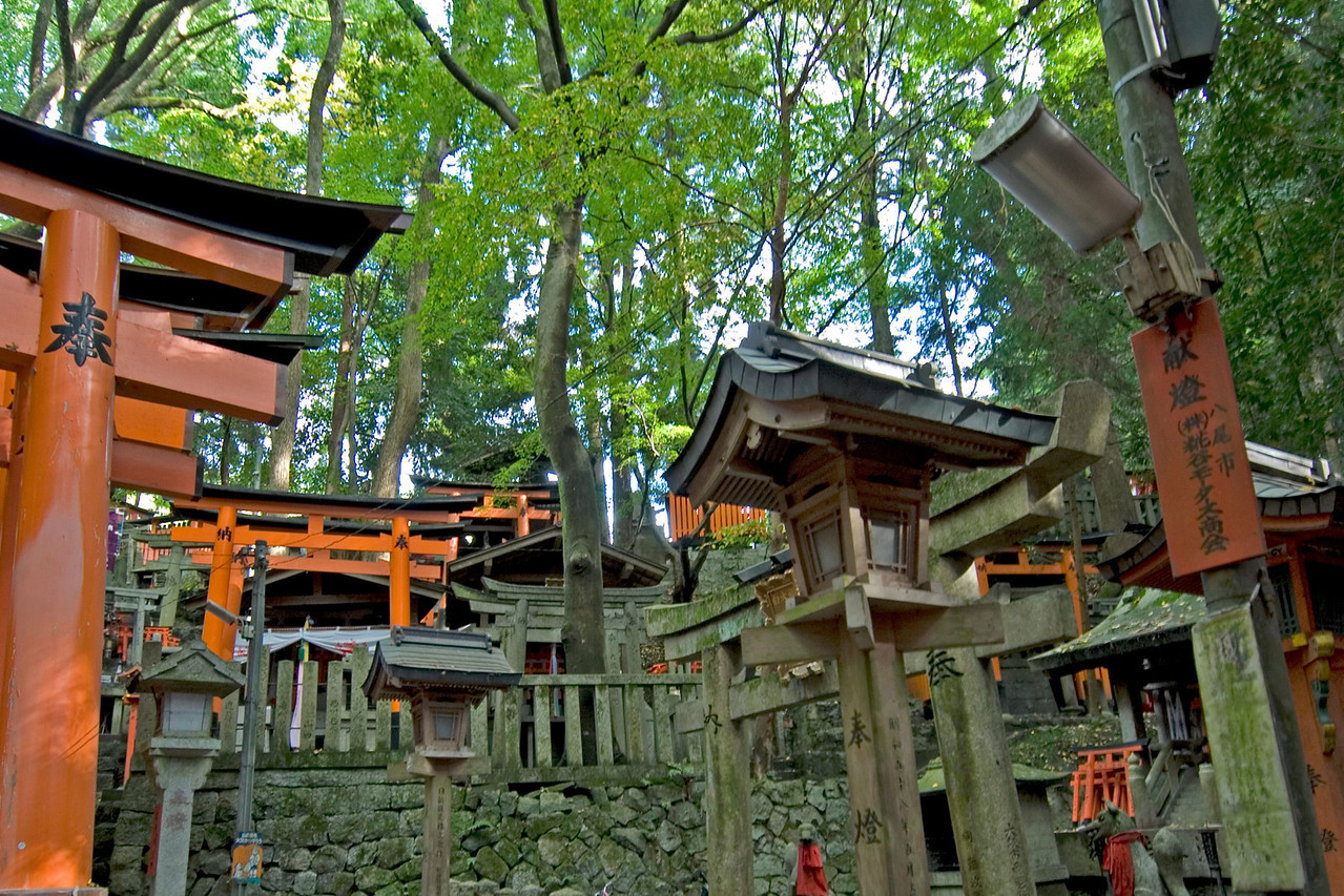 Closer look at the structure inside Fushimi-inari  Shrine in Kyoto, Japan