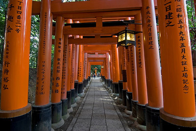Long and covered path at the Fushimi-inari Shrine in Kyoto, Japan