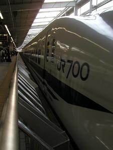 Nozomi Shinkansen (JR700 bullet train ), 2hr 35min Tokyo-Osaka  , here at JR station Kyoto, May. A wonderful ride! 2004