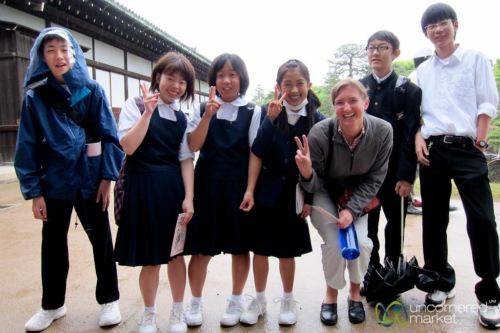 Audrey with Japanese School Kida - Nijo Castle, Kyoto