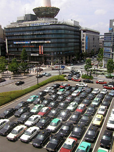 Taxi cabs, Kyoto, May,  looking from around Hotel Granvia and JR station, http://www.granviakyoto.com/ 2004