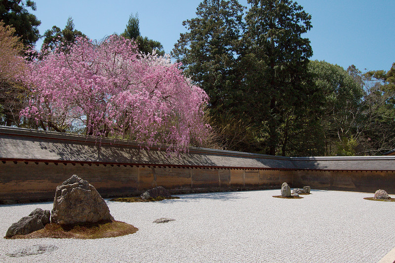 "Zen rock garden at <a target=""NEWWIN"" href=""http://en.wikipedia.org/wiki/Ry%C5%8Dan-ji"">Ryoan-ji</a> temple, Kyoto, Japan"
