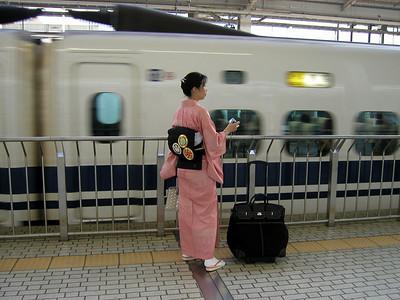 Train station traveller, JR Station Kyoto, May 2004