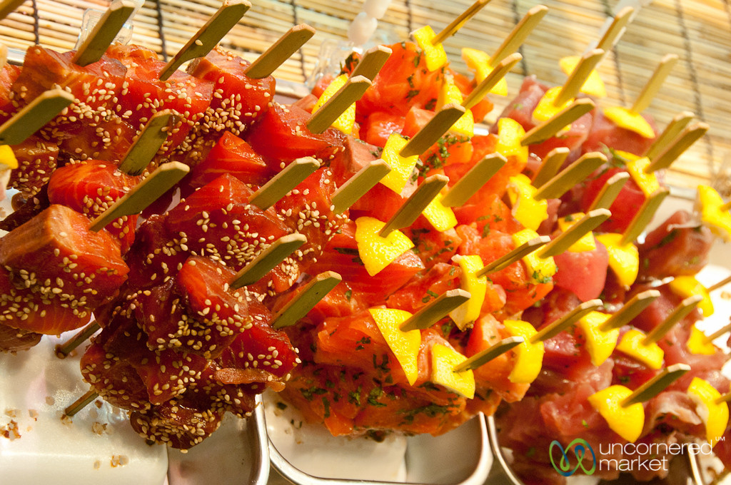 Sashimi on a Stick at Nishiki Food Market - Kyoto, Japan