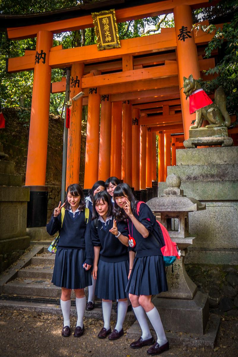 school girls at Fushimi Inari Shrine