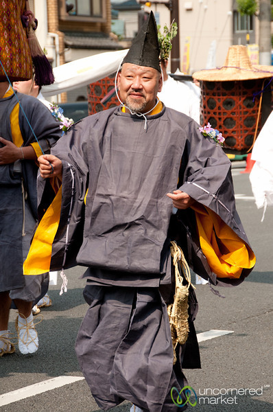 Jolly Japanese Man at Aoi Matsuri Festival - Kyoto, Japan