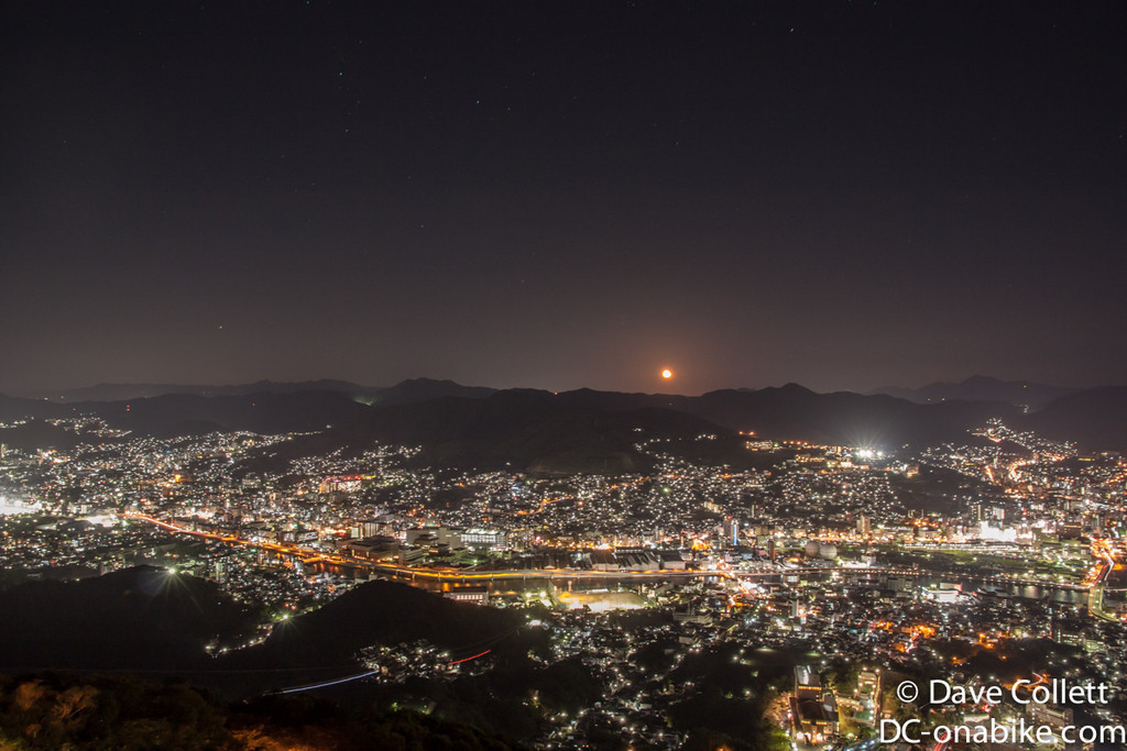 Moon over Nagasaki- lines along the bottom are the cable cars