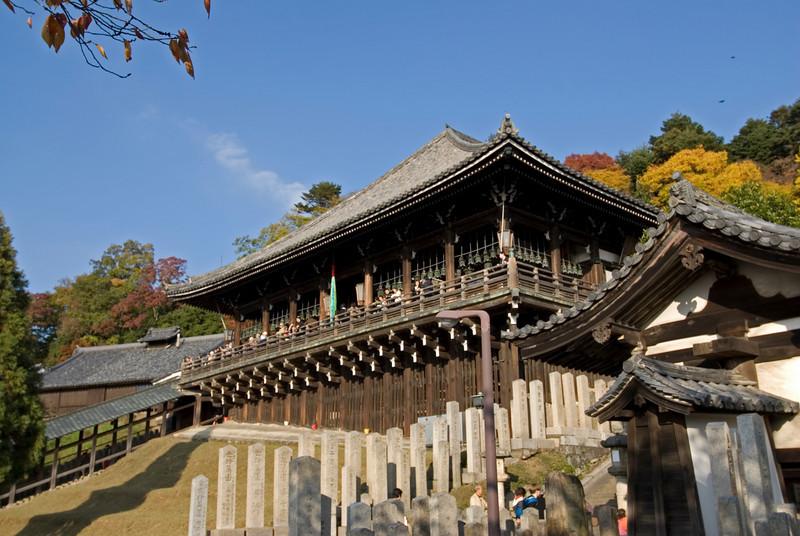 Close-up shot of the rooftop at Nigatsu-dō Hall in Nara, Japan