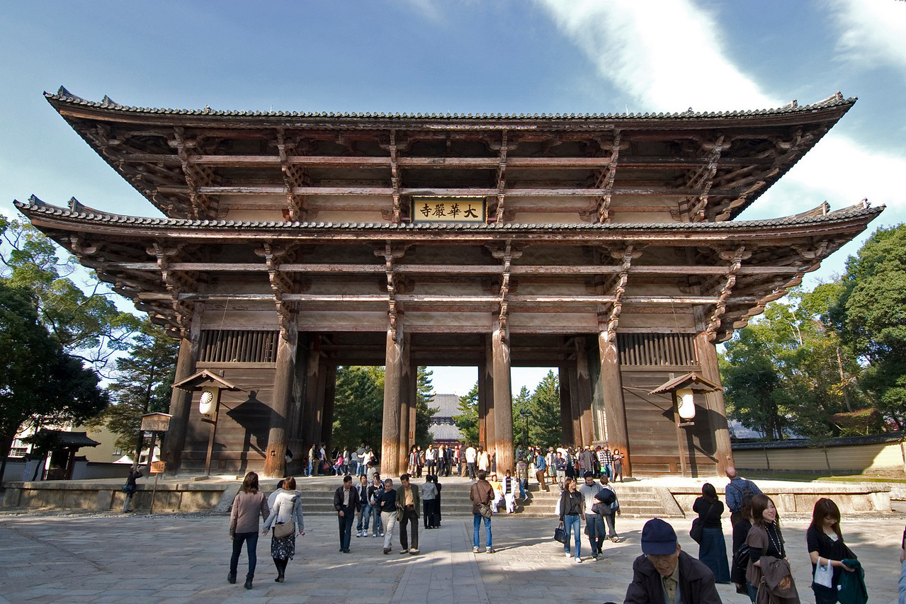 Tourists swarmed at the Todaiji Temple gate in Nara, Japan