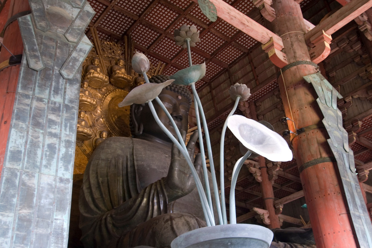 Ornamental plant beside Buddha statue in Todaiji Temple in Nara, Japan